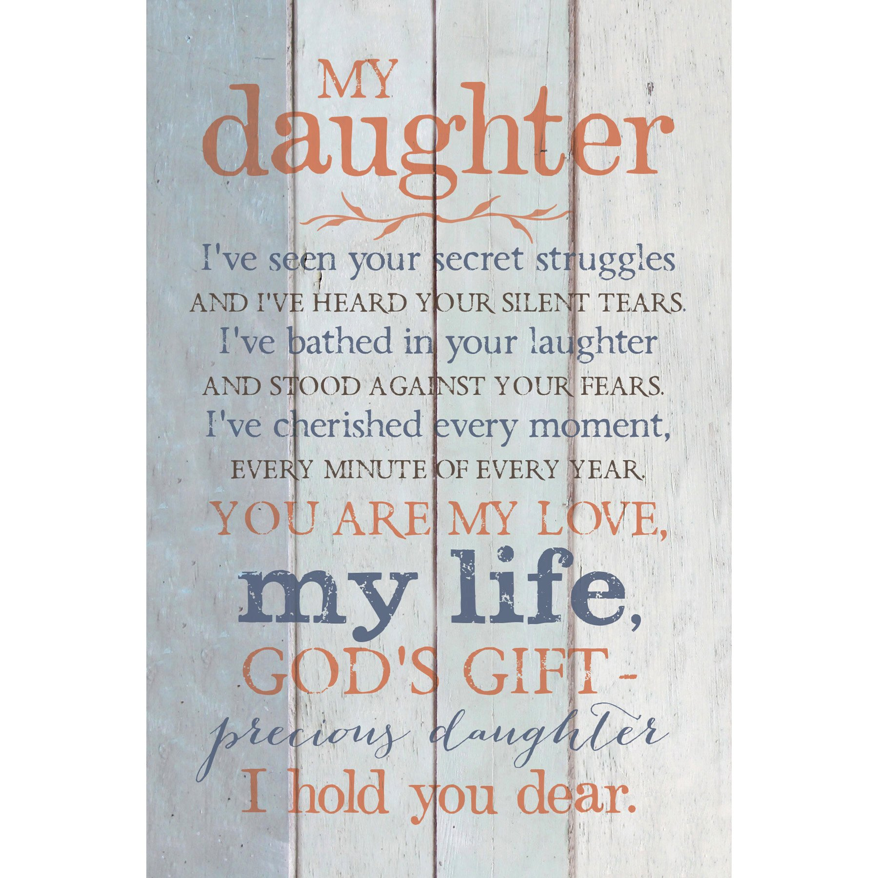 daughter wood plaque with inspiring quotes 6x9 classy vertical frame wall tabletop decoration