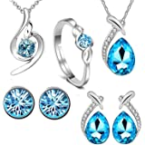 Om Jewells White Alloy Rhodium Plated Blue Crystal Jewellery Combo of 2 Pendant Sets and Finger Ring with CZ for Women