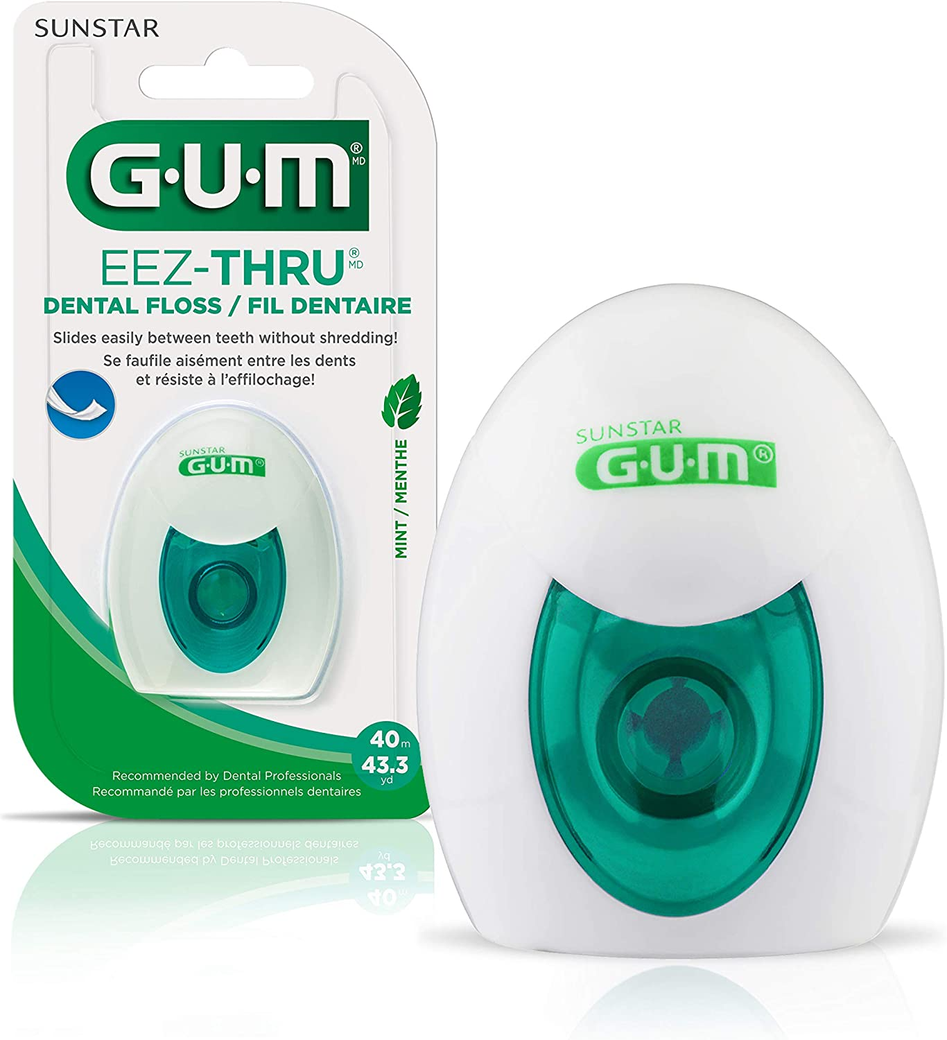 GUM - 10070942304273 EEZ-Thru Dental Floss, Mint, 43.3 Yards (Pack of 6)