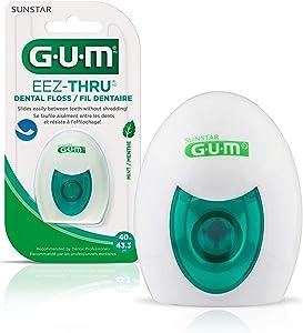 GUM - 10070942304273 EEZ-Thru Dental Floss, Mint, 43.3 Yards (Pack of 6)