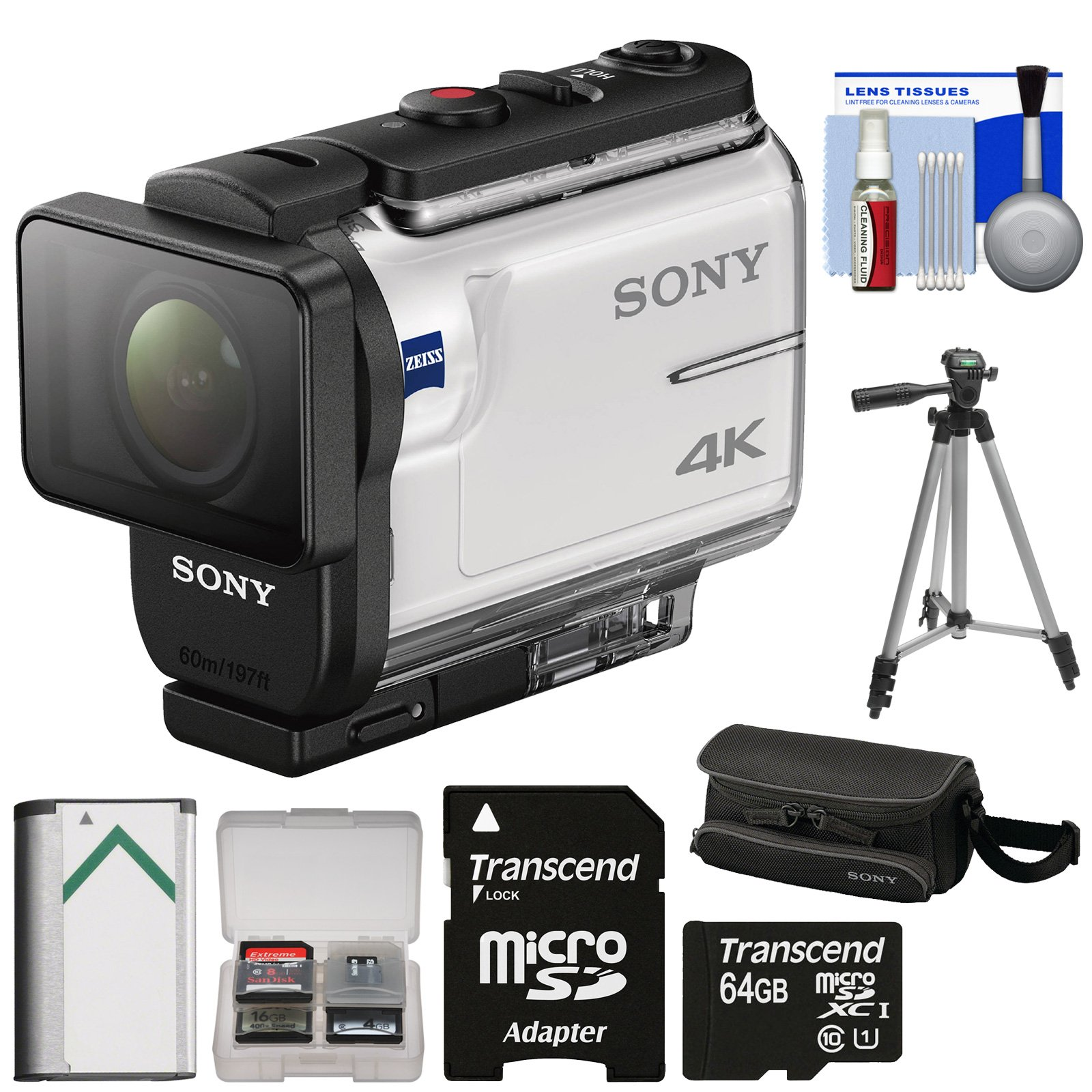 Sony Action Cam FDR-X3000 Wi-Fi GPS 4K HD Video Camera Camcorder with 64GB Card + Battery + Case + Tripod + Kit by Sony