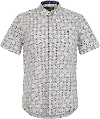 Merc of London Caspian, S/s Retro Geo Print Shirt Camisa, Azul (Cool), XXL para Hombre: Amazon.es: Ropa y accesorios