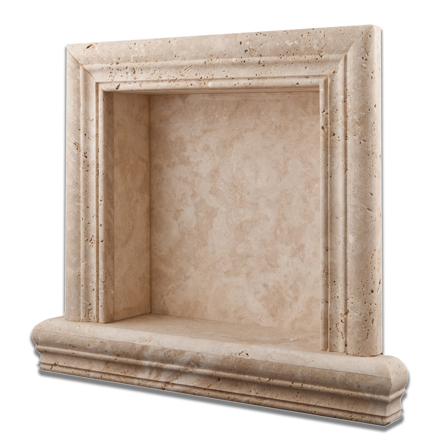 Ivory Travertine Hand-Made Honed Shampoo Niche / Shelf - SMALL