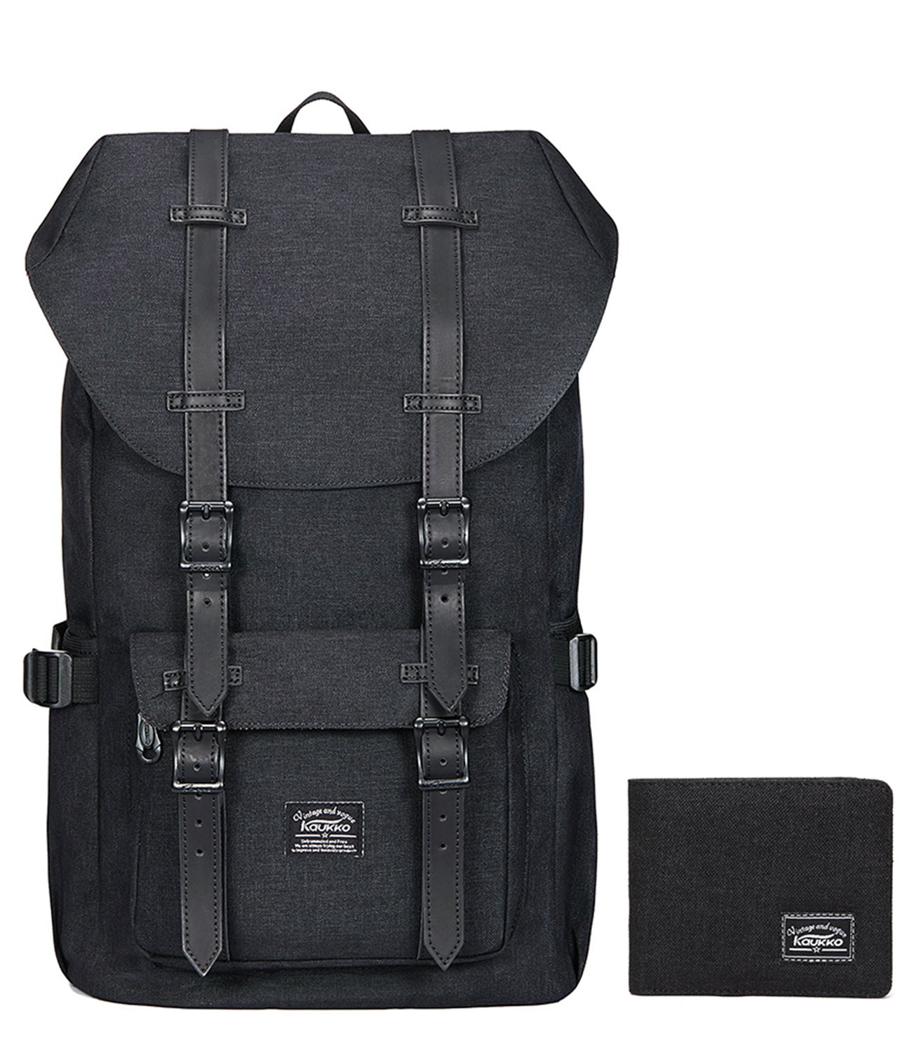 Laptop Outdoor Backpack, Travel Hiking& Camping Rucksack Pack, Casual Large College School Daypack, Shoulder Book Bags Back Fits 15'' Laptop & Tablets by Kaukko (1linen Black[2PC])
