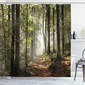Ambesonne Forest Shower Curtain, Autumnal Forest Pathway in The Mountains with Mist in The Distance Wilderness Scene, Cloth Fabric Bathroom Decor Set with Hooks, 75