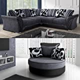 Ye Perfect Choice SOFA SET Mia CORNER SOFA SOFAS ARMCHAIR SWIVER Modern Couch Brand New Seater Various Colours (Grey and Black, Corner Sofa + Swivel Armchair)