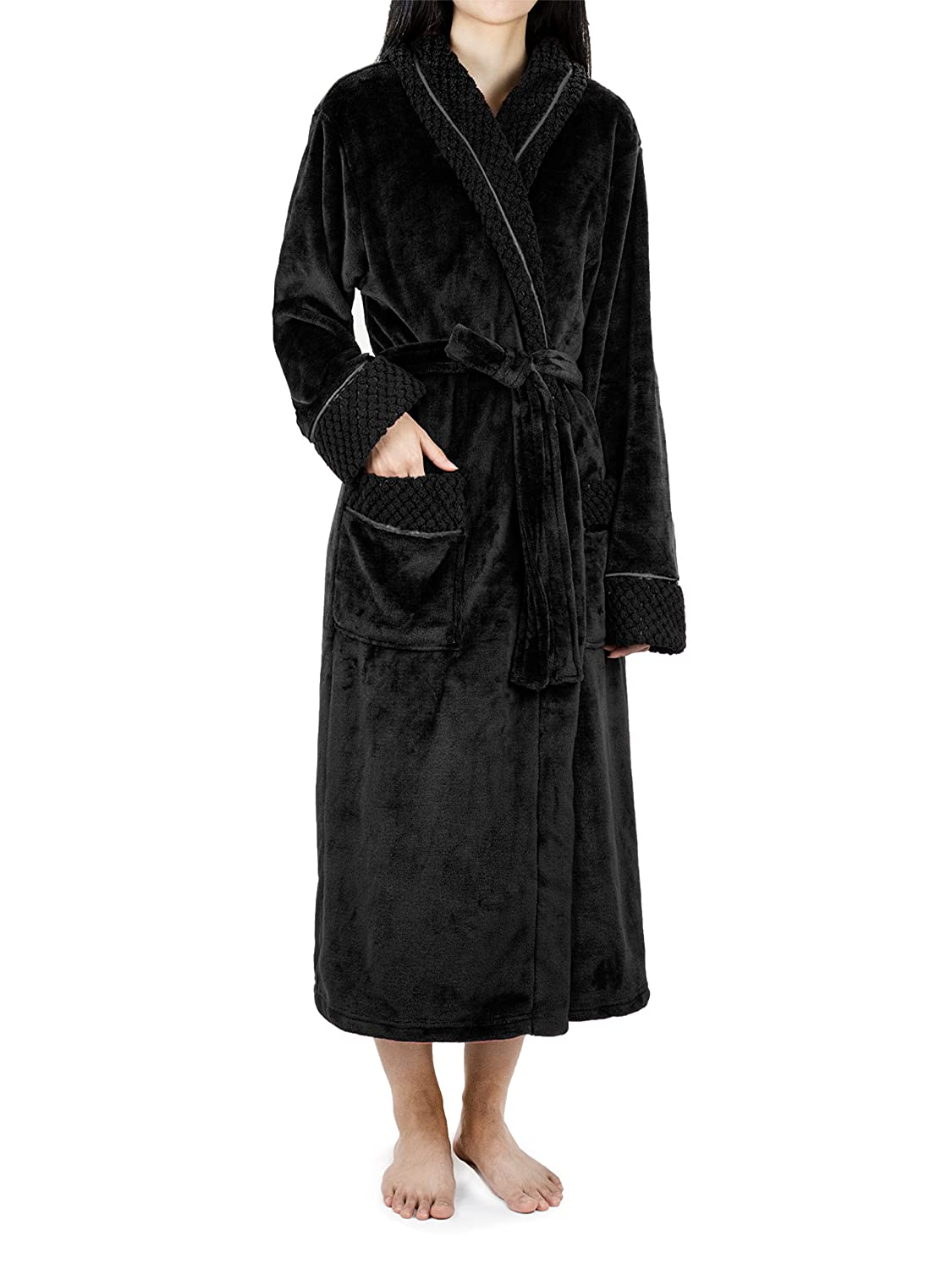 0633805628 Deluxe Women Fleece Robe with Satin Trim