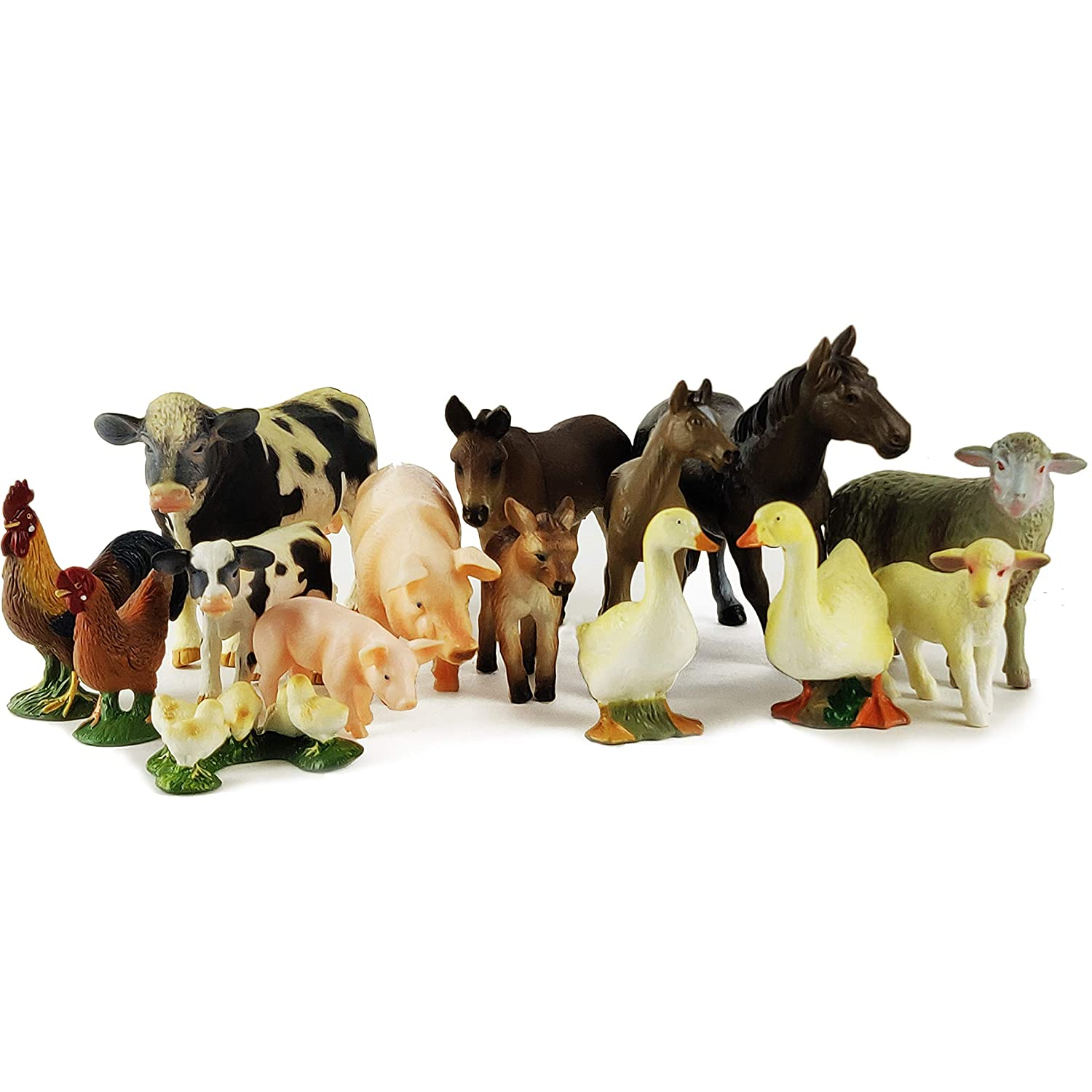 Boley (15-Piece Farm Animal Playset - with Different Varieties of Realistic Looking Farm Animals and Baby Farm Animals - Figurines Ranging from Cows, Pigs, Sheep, Ducks, Geese, Horses, and Chickens