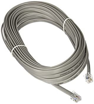 25FT RJ12 Modular Telephone Cable 6-WIRE Multi Line Silver: Amazon ...