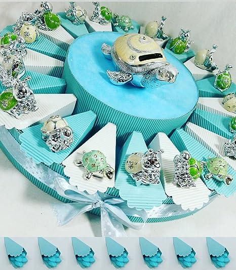 (20 recuerdos + hucha) tarta con recuerdos para bautizo, con motivos de animales