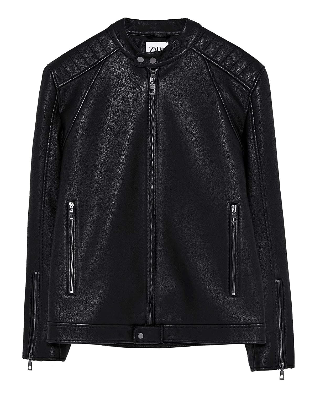 Zara Men Faux Leather Biker Jacket 4315400 at Amazon Men's