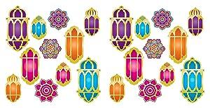 """Beistle 53580 Foil Lantern & Mandala Cutouts, 22 Piece, 6.75""""-15"""", Multicolored"""