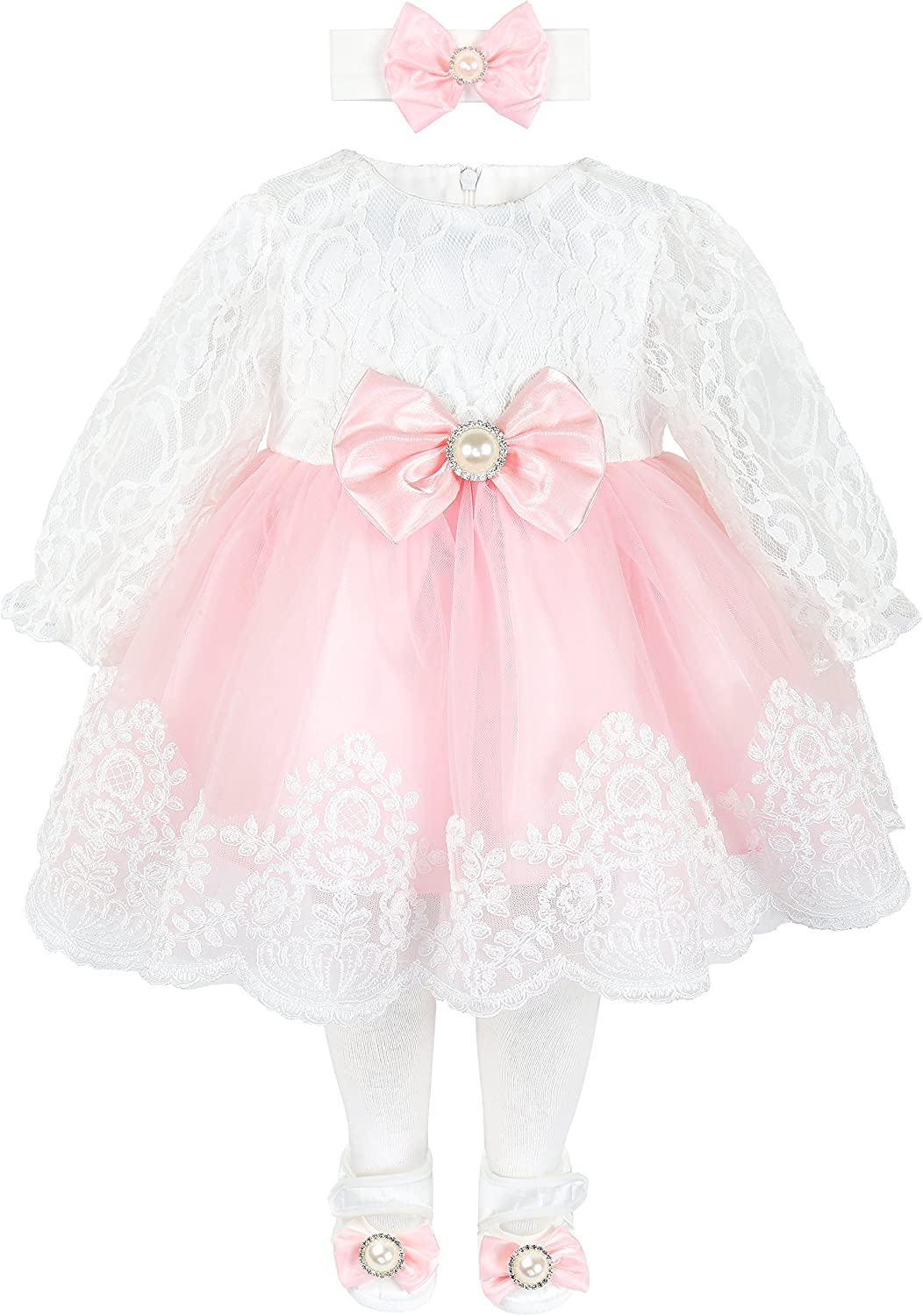 Taffy Baby Girl Newborn Lace Long Sleeve Princess Dress Gown 6 Piece Deluxe Set