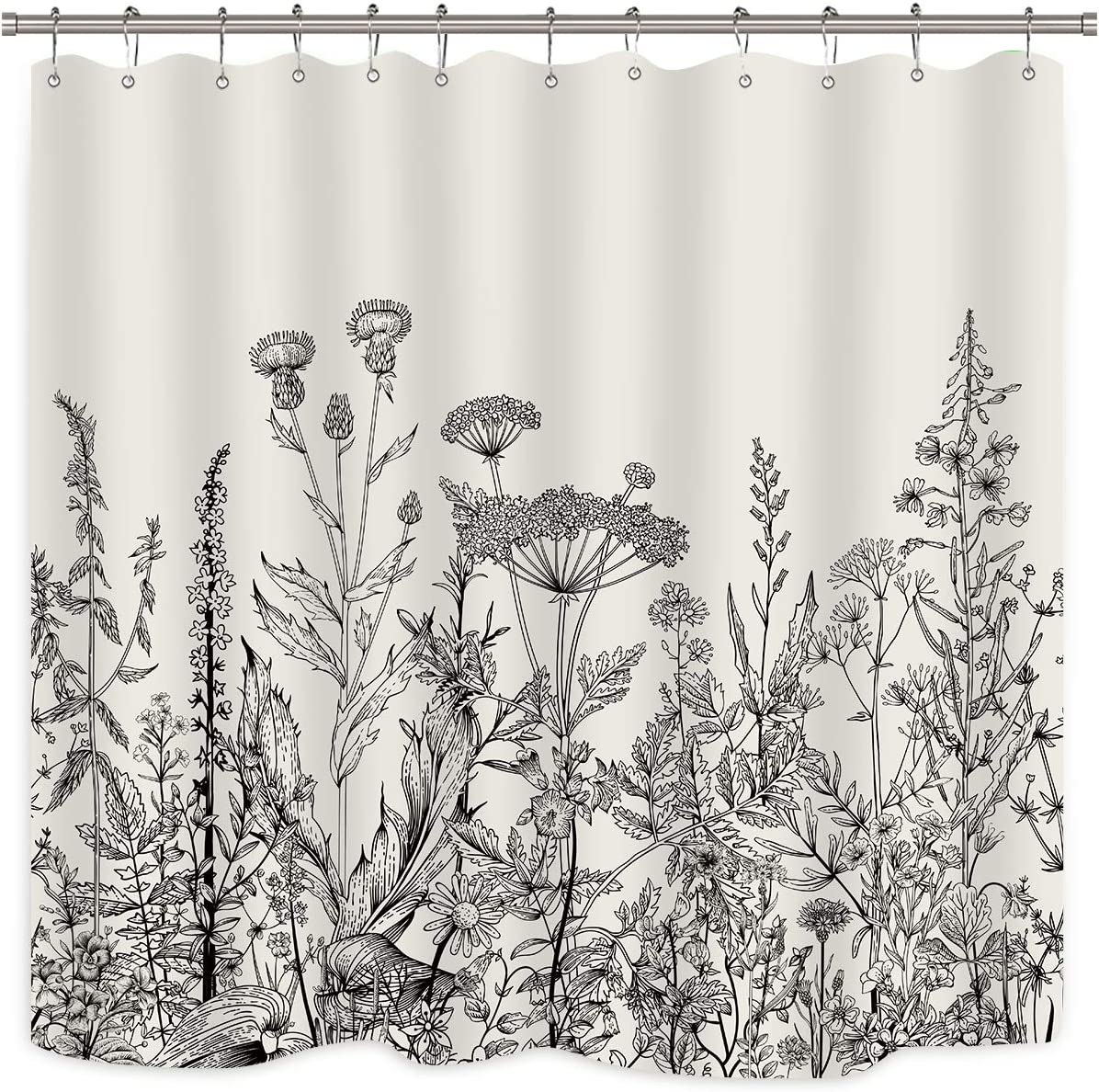 Riyidecor Wild Floral Shower Curtain Botanical Herbs Tulip Plant Nature Blossom Flower Leaf Sketch Gross Waterproof Fabric 72x72 Inch Polyester Bathroom Bathtub Decoration 12 Pack Plastic Hooks