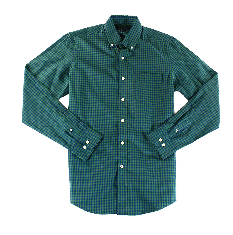Club Room Mens Gingham Long Sleeve Button Up Shirt