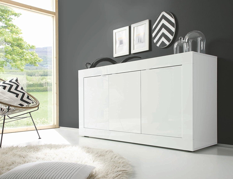 L& C LC Basic Madia 3 Ante, Legno, Bianco Lucido, 160 x 86 x 43 cm Lc Spa 209015-05