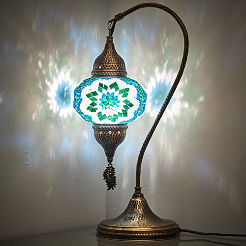 18 Variations CopperBull 2020 Turkish Moroccan Tiffany Style Handmade Colorful Mosaic Table Desk Bedside Night Swan Neck Lamp Light Lampshade