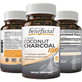 Activated Coconut Charcoal 1200mg, 180 Capsules - Pills for Digestive System, Bloating, Detoxification, Teeth Whitening, Vega