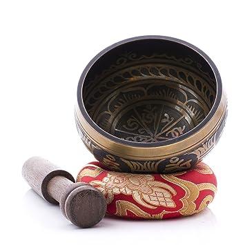 Cuenco Tibetano - Diseño de colección - Incluye Almohadilla y Baqueta del Himalaya - El Regalo Perfecto - Hecho En Nepal