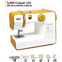 Alfa Compact100 Compakt 100-Maquina de Coser compacta, Blanco y Amarillo, 25 x 15 x 32 cm