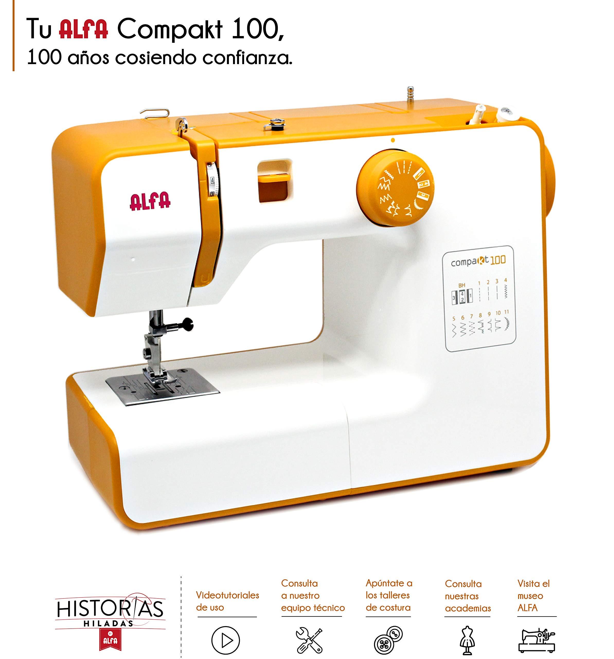 Alfa Compact100 Compakt 100-Maquina de Coser compacta, Blanco y Amarillo, 25 x