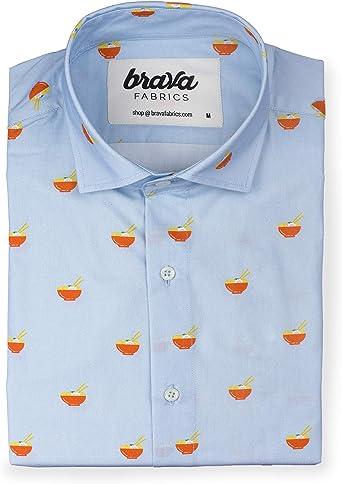 Brava Fabrics | Camisa Hombre Manga Larga Estampada | Camisa ...