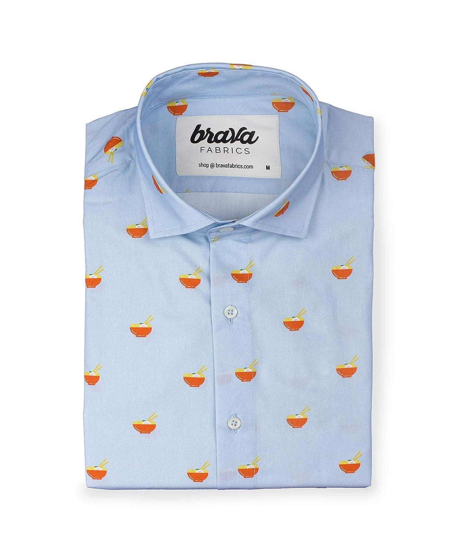 TALLA XL. Brava Fabrics - Camisa Hombre Manga Larga Estampada - Camisa Azul para Hombre - Camisa Casual Regular Fit - 100% Algodón - Modelo Late Night Ramen