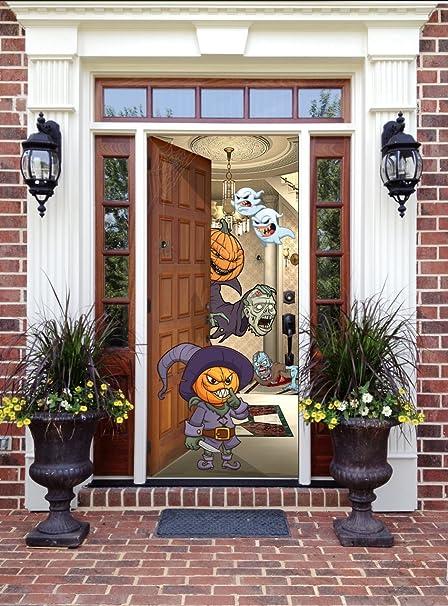 Amazon Halloween Front Door Decor Pumpkin Heads Garden