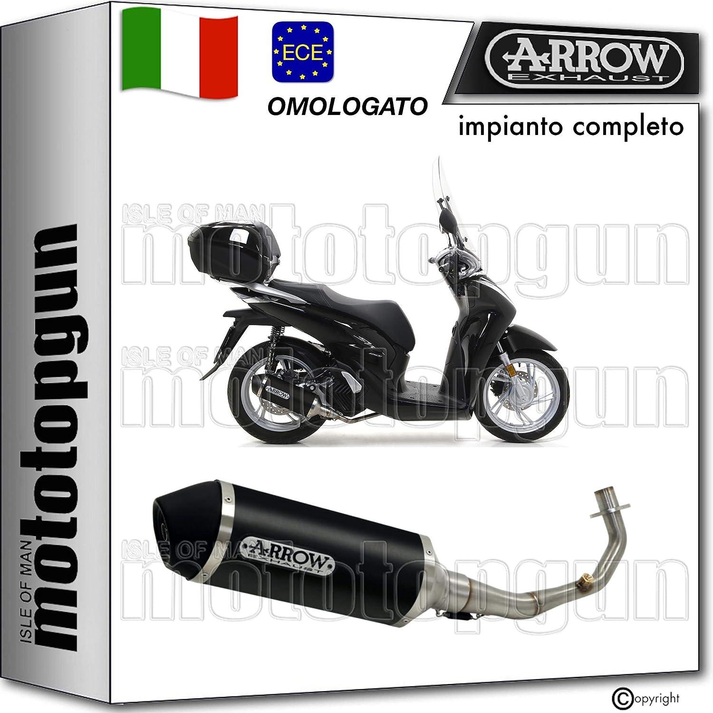 arrow desagüe completo nocat homologado urban aluminio negro fondo inox negro Honda sh 150 i 2020 20