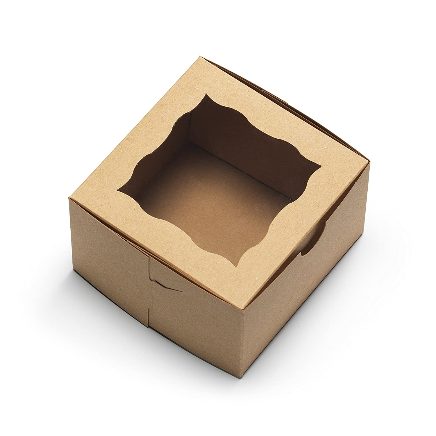 "[50Pack] Bakery Boxes with Window 4x4x2.5"" - by Cuisiner (Brown)"