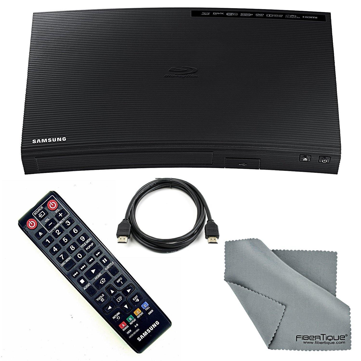 Samsung BD-J5900 Wi-Fi & 3D Blu-Ray Disc Player HDMI Cable + FiberTique Cleaning Cloth + Remote