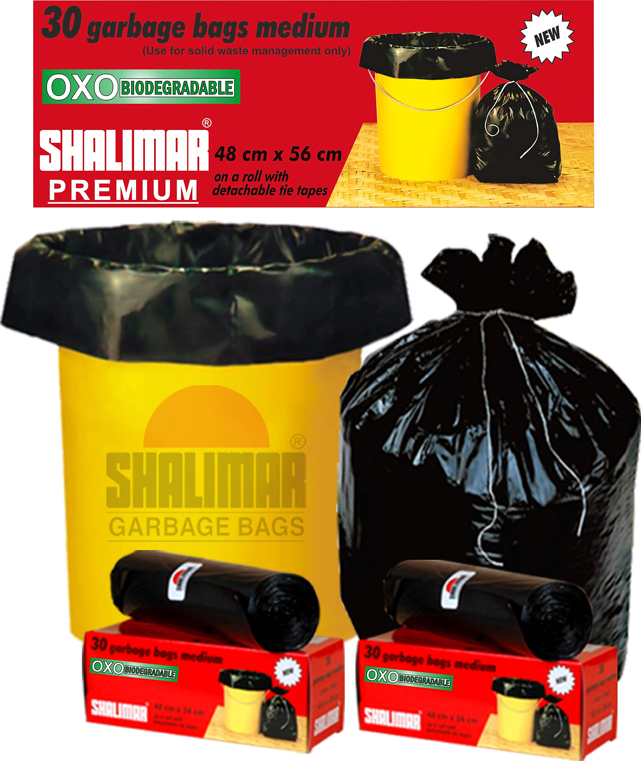 Shalimar Premium OXO - Biodegradable Garbage Bags (Medium) Size 48 cm x 56 cm 6 Rolls (180 Bags) (Black Colour) product image