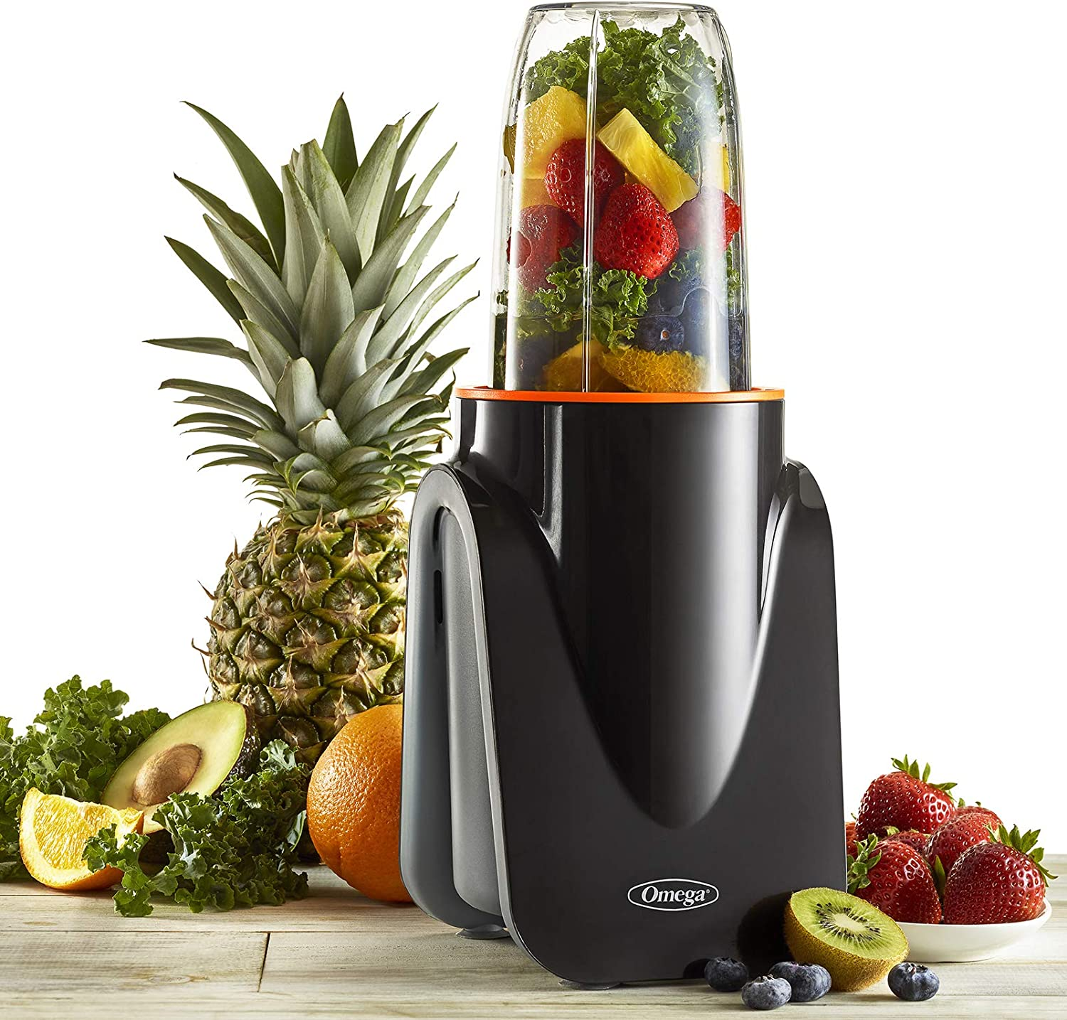 Omega PBL1000BD MeGo Nutrition on The Go Personal Blender for Healthy Smoothies Powerful Motor and Auto Shutoff Hot or Cold with 2 Blending Cup, Medium, Black