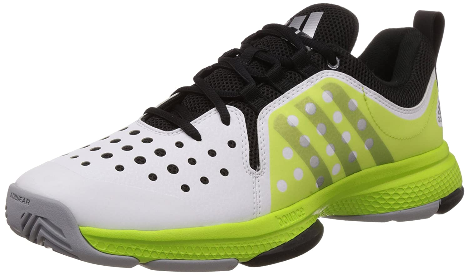 adidas Men\u0027s Barricade Classic Bounce White, Black and Yellow Mesh Tennis  Shoes - 11 UK: Buy Online at Low Prices in India - Amazon.in