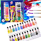 TBC The Best Crafts 24 Colors(12ml/Tube) Acrylic Paints for Artists(24 Basic & Metallic Colors), Ideal Acrylic Art Set…