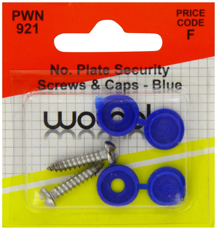 color azul Paquete de tapones y tornillos Pearl PWN921 para matr/ículas
