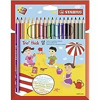 STABILO 203/2-18 Driekantig kleurpotlood - Trio dik – 18 stuks – met 18 verschillende kleuren en puntenslijper