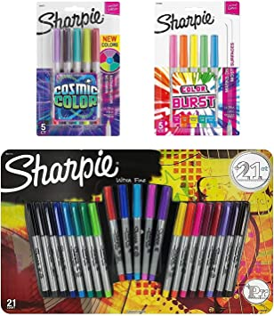 Sharpie Ultra Fine Point Permanent Markers 5 Limited Edition Electro Pop Colors