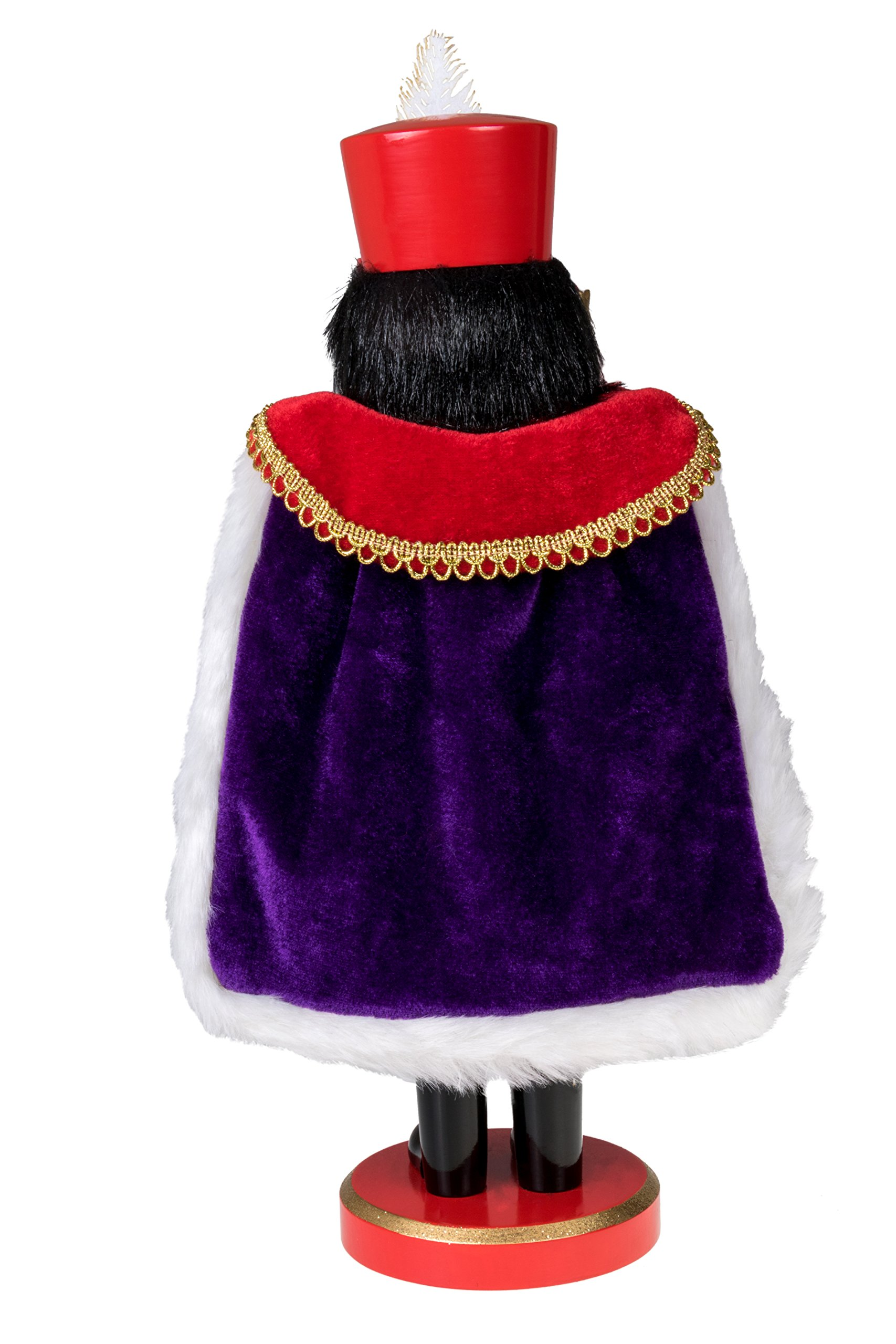 Clever Creations Red Prince Wooden Nutcracker Wearing Purple Cape Holding Toy Nutcracker Gift | Festive Decor | Perfect for Shelves and Tables | 100% Wood | 14'' Tall by Clever Creations (Image #3)