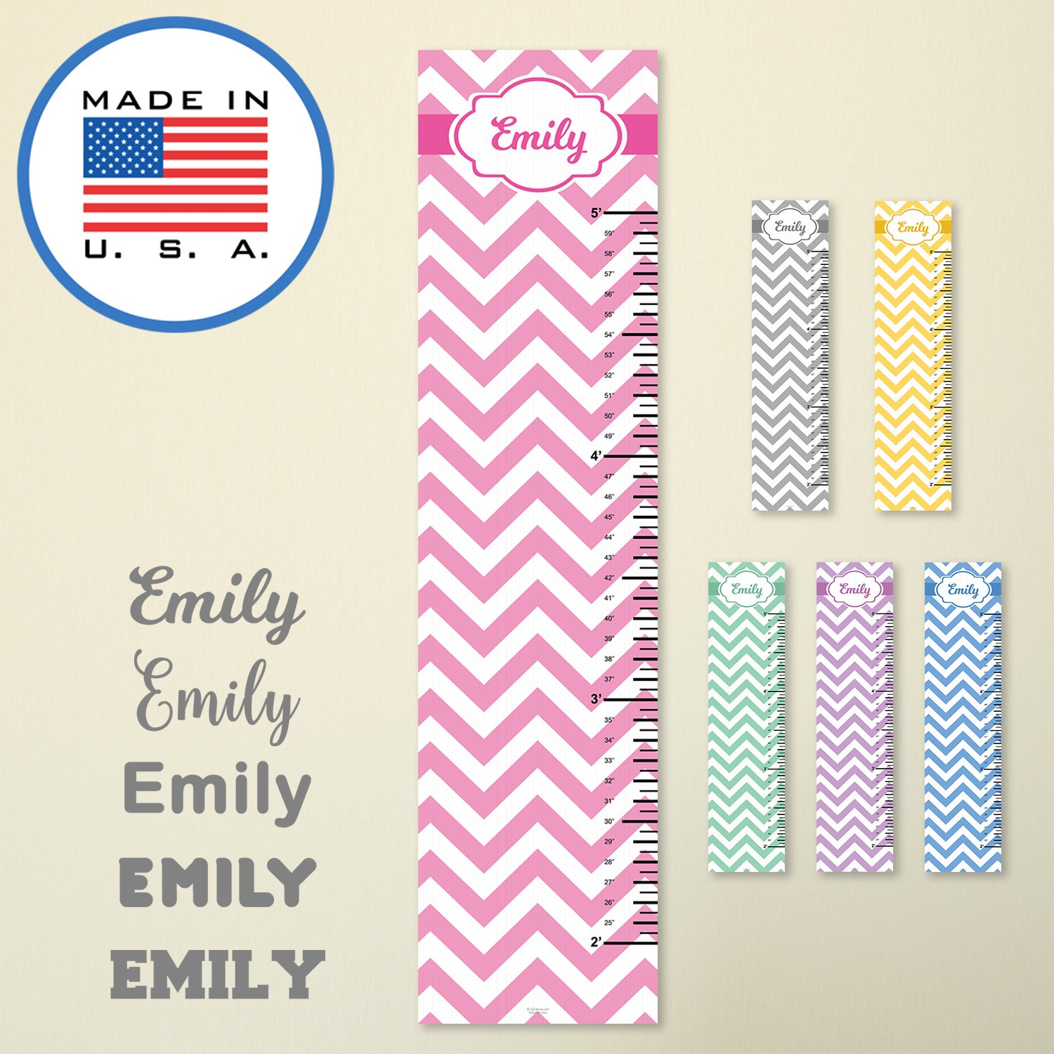 321Done Personalized Hanging Growth Chart, Gray Chevron with Name, Height Ruler Measurement, Vinyl Banner Nursery Wall Decor Baby, Made in USA VGC7001-A