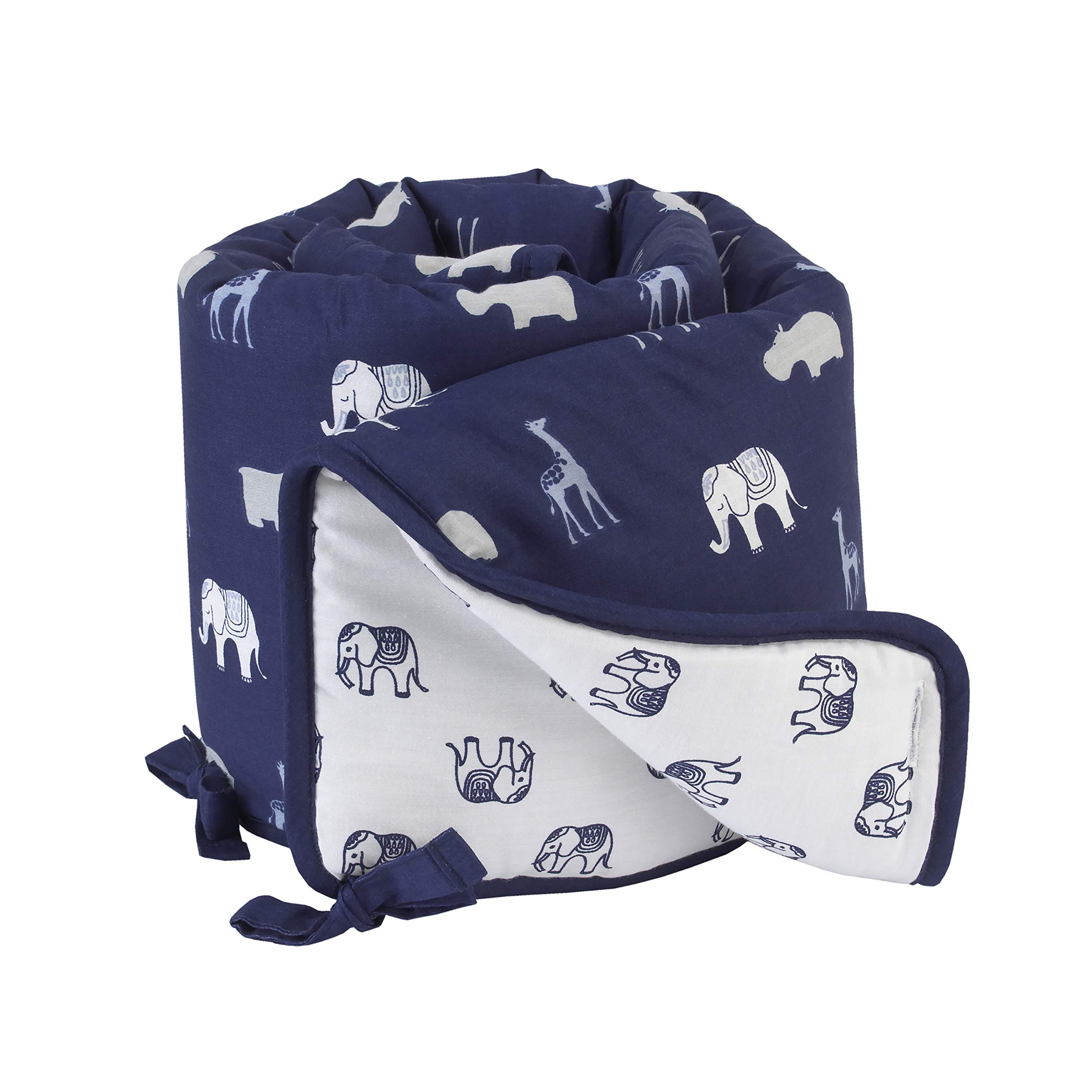 NoJo Serendipity Animal Print 100% Cotton Crib Rail Guard, Navy/Light Blue/Grey/Ivory by NoJo