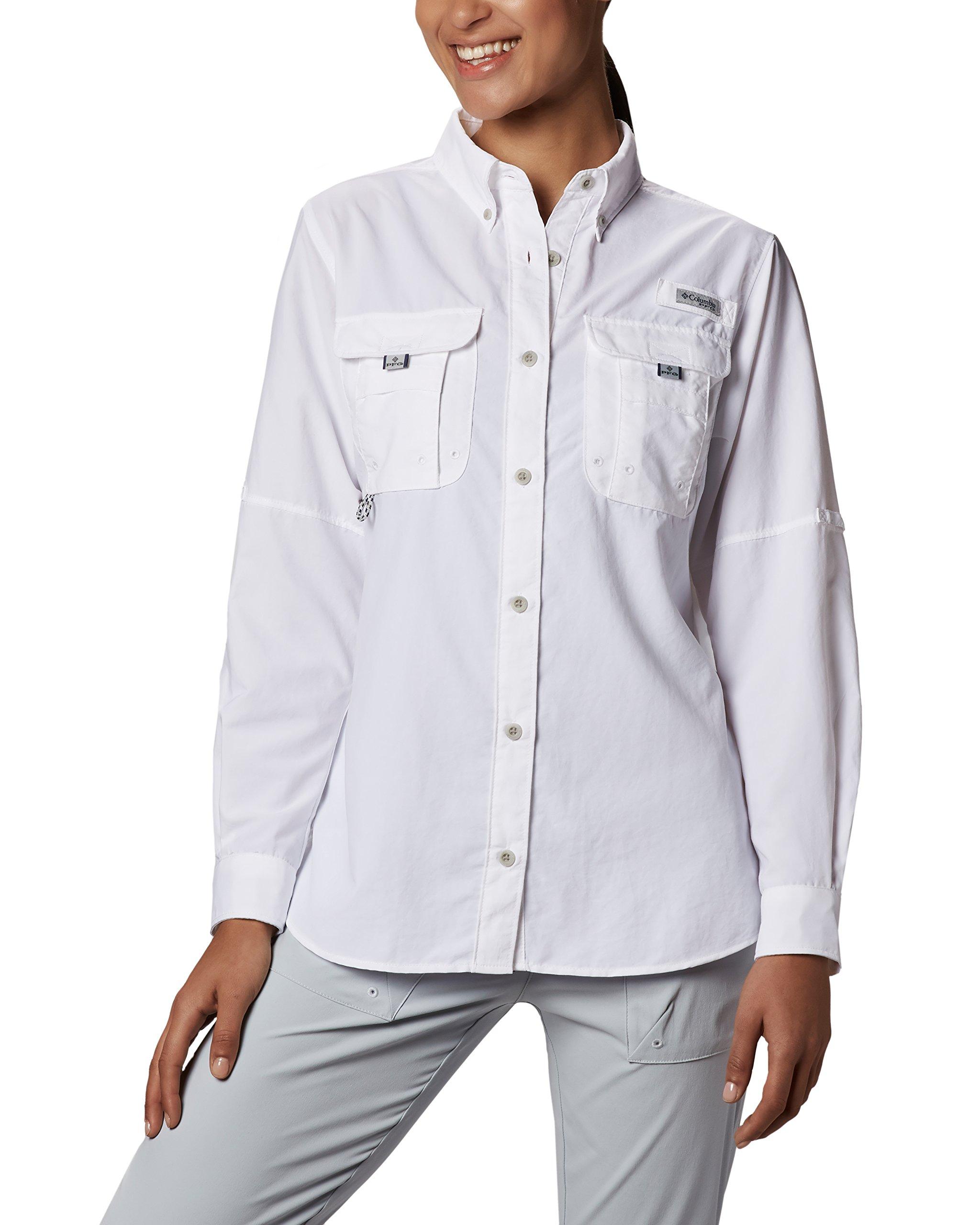 Columbia Women's Bahama Long Sleeve Shirt, White, Medium
