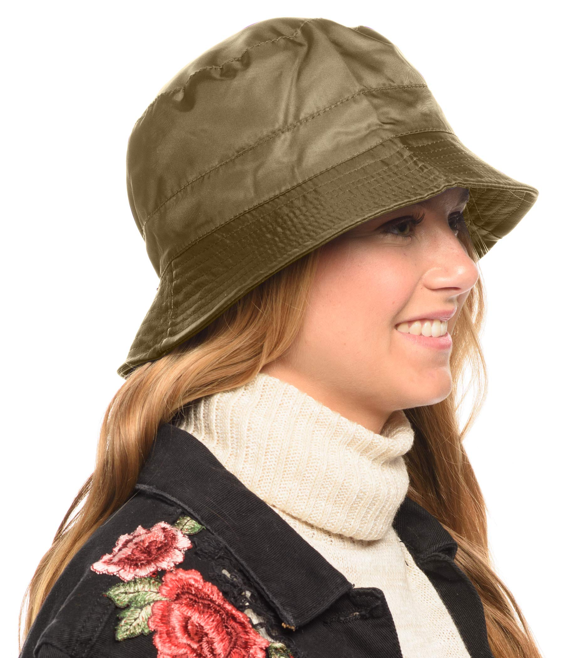 ANGELA & WILLIAM Adjustable Waterproof Bucket Rain Hat in Nylon, Easy to fold (Olive)