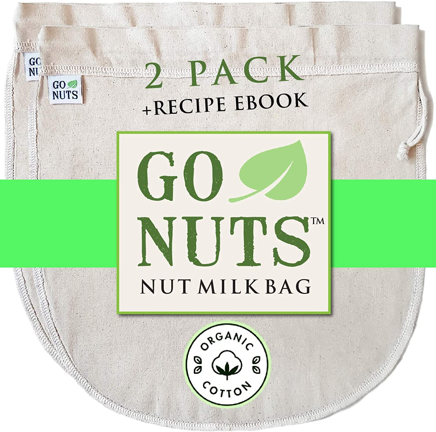 "2-PACK 100% ORGANIC COTTON Nut Milk Bag - Restaurant Commercial Grade by GoNuts - 12""x12"" Cheesecloth Strainer Filter For Best Almond Milk, Celery Juicing, Cold Brew Coffee, Tea, Yogurt, Tofu"