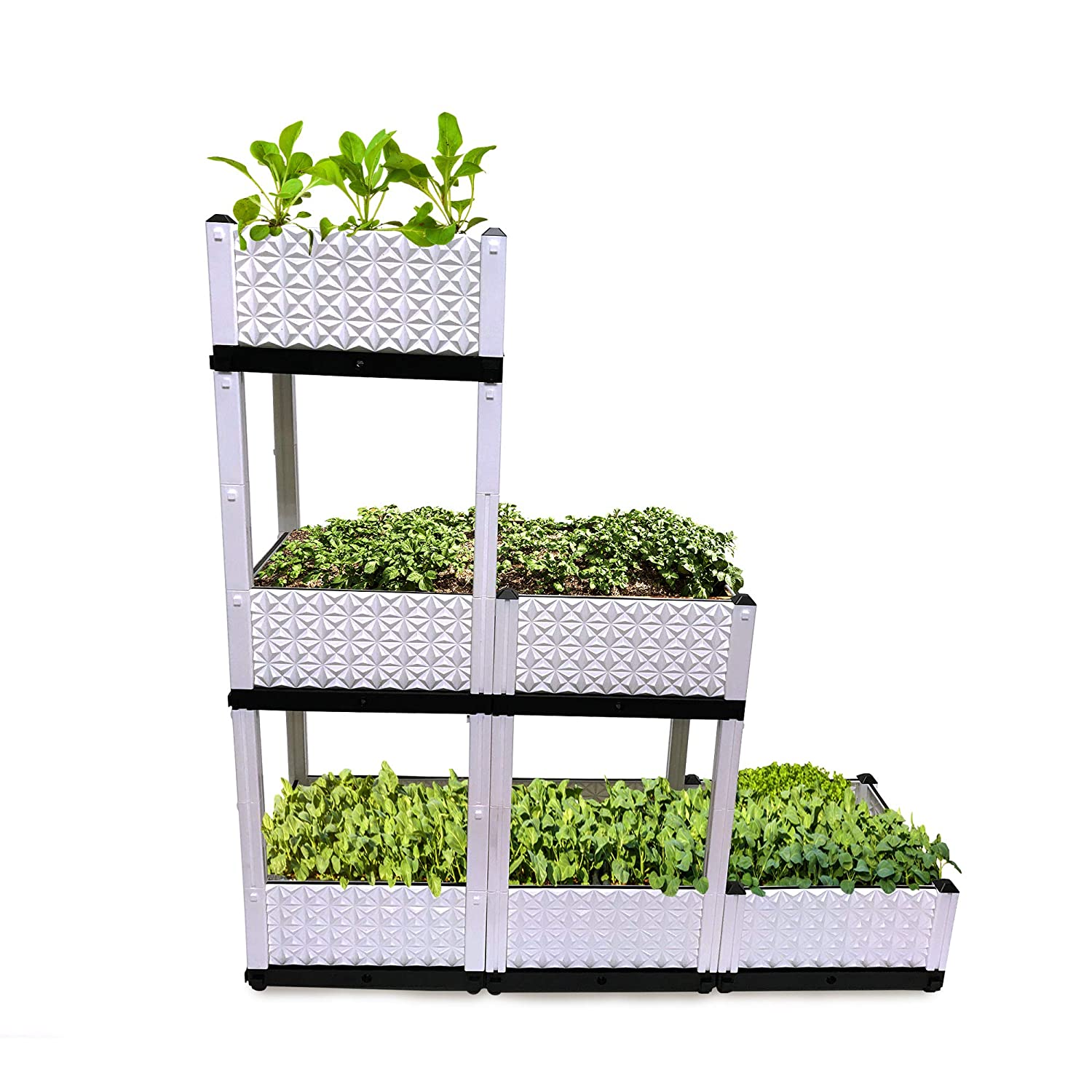Raised Garden Bed, Vertical Garden, 6 Container Boxes of 15x15x9in, Elevated Planters to Grow Vegetables, Herbs, Plants Flowers, Plastic Stand for Indoor Outdoor Patio, Multiple Combinations.