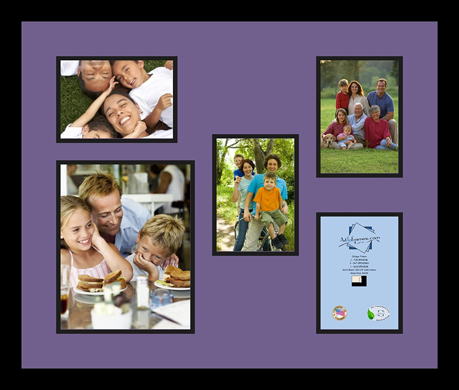Art to Frames Double-Multimat-317-849//89-FRBW26079 Collage Photo Frame Double Mat with 1-8x10 and 4-5x7 Openings and Satin Black Frame