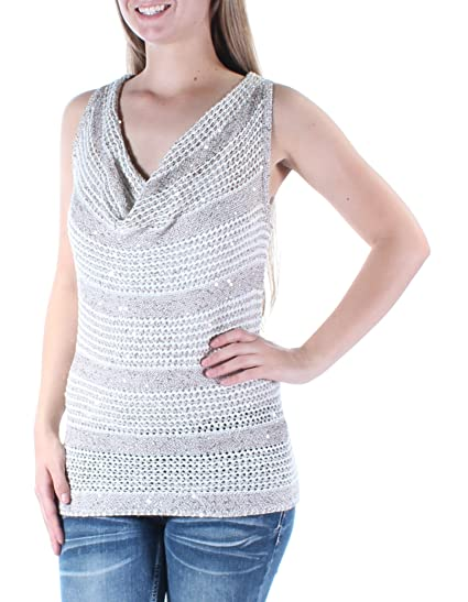 924d044025f5c Image Unavailable. Image not available for. Color  INC Womens Small Cowl  Neck Sequin Embellished Knit Top ...