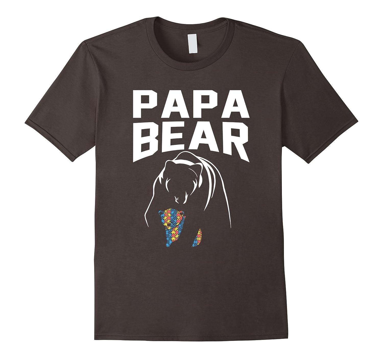 Mens 2017 autism papa bear autism awareness dark color t for Mens colored t shirts