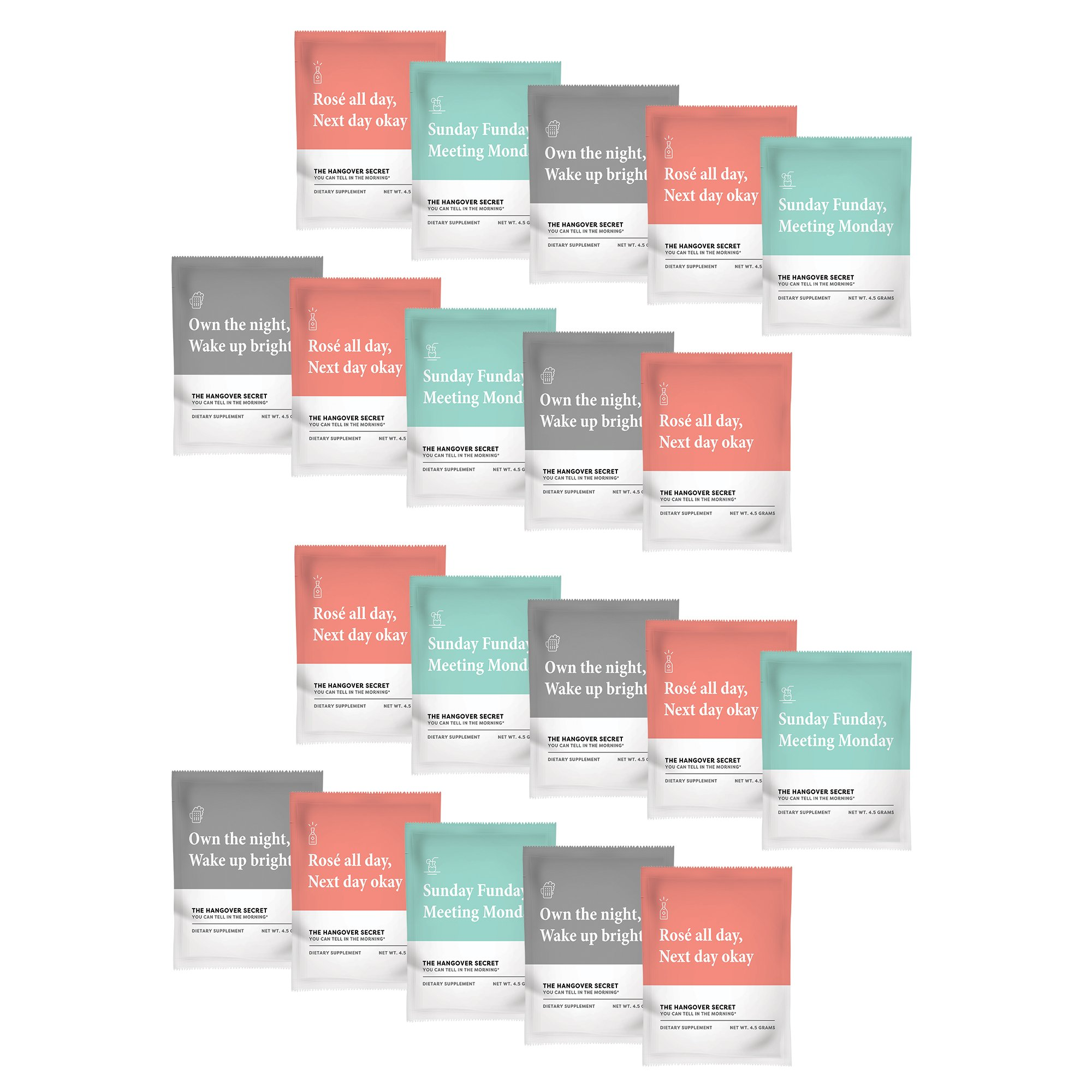 Hangover Secret | #1 Prevention by Pharmacist for Recovery - Powder Packets Formulated for Alcohol Metabolism w/Vitamin & Electrolyte Replenishment.Perfect for Wedding, Bachelorette Kits or Travel