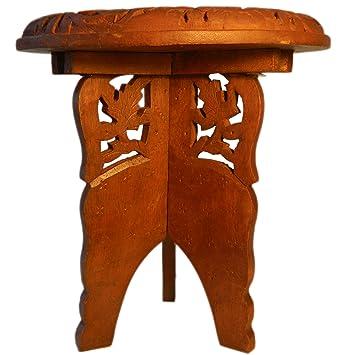 Guéridon 48x45cm Table Démontable Ensemble Tabouret Marqueterie Pièces 2 Console Bois jA5RL34